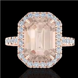 Natural 4.50 CTW Morganite & Micro Pave Diamond Certified Halo Ring 14K Rose Gold - 21430-REF#-115X8
