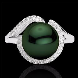 Natural .27 CTW Diamond Certified & Peacock Pearl Designer Ring 18K White Gold - 22621-REF#-42Z3R