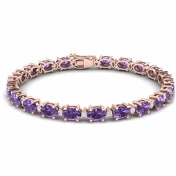 19.70 CTW AMETHYST & DIAMOND SI-I CERTIFIED ETERNITY TENNIS BRACELET - 29358-#78R7F