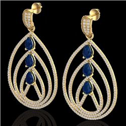 Natural 4 CTW Sapphire & Micro Pave Diamond Certified Designer Earrings 18K Yellow Gold - 22460-REF#
