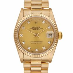 Pre-owned Excellent Condition Authentic Rolex Quickset Men's 18K Yellow Gold DateJust Champagne Dial