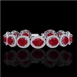 Natural 22 CTW Ruby & Micro Pave Diamond Certified Bracelet 10K White Gold - 22695-REF#-226F4V