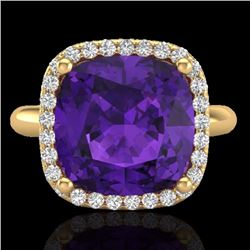 Natural 6 CTW Amethyst & Micro Pave Halo Diamond Ring Solitaire 18K Yellow Gold - 23093-REF#-49T5K