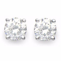Natural 2.0 ctw Diamond Solitaire Stud Earrings 18K White Gold - 13820-#475R2H