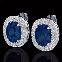 Natural 6.30 CTW Sapphire & Micro Pave Diamond Certified Halo Earrings 18K White Gold - 20126-REF#-9