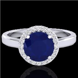 Natural 2 CTW Sapphire & Halo Diamond Micro Pave Ring Solitaire Bridal 18K White Gold - 21643-REF#-4