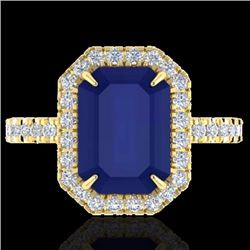 Natural 5.33 CTW Sapphire & Micro Pave Diamond Certified Halo Ring 18K Yellow Gold - 21435-REF#-62N2