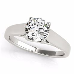 0.50 CTW Certified SI-I Diamond Bridal Solitaire  Ring 18K White Gold - 28146-#84K2R