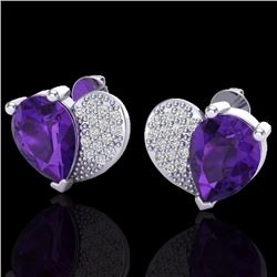 Natural 2.50 CTW Amethyst & Micro Pave Diamond Certified Earrings 10K White Gold - 20064-REF#-25V5Y