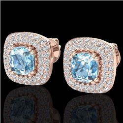 Natural 2.16 CTW Sky Blue Topaz & Micro Diamond Earrings Solitaire Halo 14K Rose Gold - 20335-REF#-7