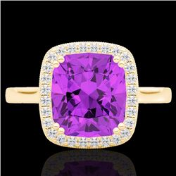 Natural 2.75 CTW Amethyst & Micro Pave Diamond Halo Solitaire Ring 18K Yellow Gold - 22837-REF#-47T5
