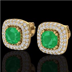 Natural 2.16 CTW Emerald & Micro Diamond Earrings Solitaire Double Halo 18K Yellow Gold - 20345-REF#