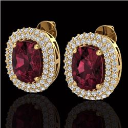 Natural 5.20 CTW Garnet & Micro Pave Diamond Certified Halo Earrings 10K Yellow Gold - 20116-REF#-70