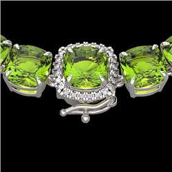 Natural 100 CTW Peridot & Diamond Halo Micro Pave Necklace 14K White Gold - 23354-REF#-457R8H