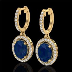 Natural 4.25 CTW Sapphire & Micro Pave Diamond Earrings Solitaire Halo 18K Yellow Gold - 20334-REF#-