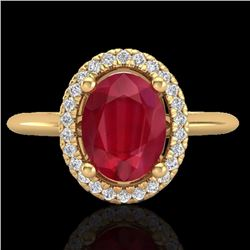 Natural 2 CTW Ruby & Micro Pave Diamond Bridal Ring Solitaire Halo 18K Yellow Gold - 21019-REF#-43A9