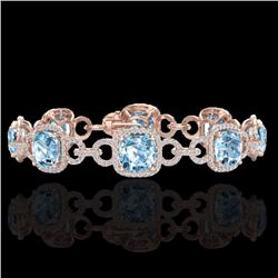 Natural 30 CTW Topaz & Micro Diamond Certified Bracelet 14K Rose Gold - 23033-REF#-267M5F