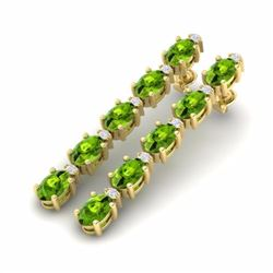 10.36 CTW PERIDOT & DIAMOND SI-I CERTIFIED TENNIS EARRINGS YELLOW GOLD - 29402-#64Y7Z