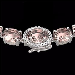 Natural 64 CTW Morganite & Diamond Eternity Tennis Micro Halo Necklace 14K White Gold - 23468-REF#-6
