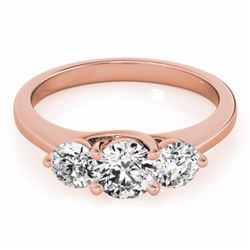 0.50 CTW Certified SI-I Diamond 3 stone Bridal Solitaire  Ring 18K Rose - 28009-#66N2F