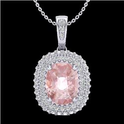 Natural 2.75 CTW Morganite & Micro Pave Diamond Certified Halo Necklace 18K White Gold - 20416-REF#-