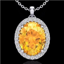 Natural 2.75 CTW Citrine & Micro Diamond Halo Solitaire Necklace 18K White Gold - 20585-REF#-42V8Y
