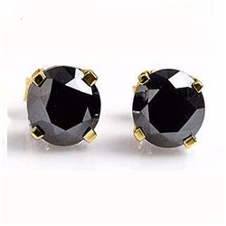 Genuine 0.50 ctw Black Diamond Solitaire Stud Earrings 14K Yellow Gold - 14219-#11Z7P