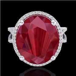 Natural 12 CTW Ruby & Micro Pave Diamond Certified Halo Ring 18K White Gold - 20965-REF#-95N3A
