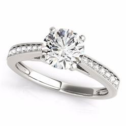 0.70 CTW Certified SI-I Diamond Solitaire Bridal  Ring 18K White Gold - 27624-#92Y2X