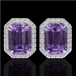 Natural 9.40 CTW Amethyst & Micro Pave Diamond Certified Halo Earrings 18K White Gold - 21216-REF#-6
