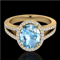 Natural 3 Sky Blue Topaz & Micro Diamond Halo Solitaire Bridal Ring 18K Yellow Gold - 20934-REF#-55A