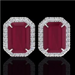 Natural 10.40 CTW Ruby & Micro Pave Diamond Certified Halo Earrings 18K White Gold - 21231-REF#-76N5