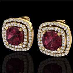Natural 3 CTW Garnet & Micro Pave Diamond Certified Halo Earrings 18K Yellow Gold - 20166-REF#-83K7W