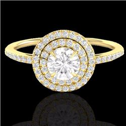 Natural 1 CTW Micro Pave Diamond Solitaire Bridal Ring Double Halo 18K Yellow Gold - 21615-REF#-89W9