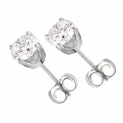 Genuine 0.40 ctw Diamond Solitaire Stud Earrings 14K White Gold - 12609-#23W9K