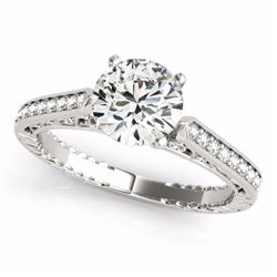 0.50 CTW Certified SI-I Diamond Solitaire Bridal Antique Ring 18K White - 27366-#64F8N