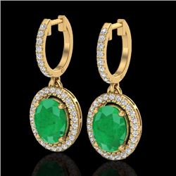 Natural 4.25 CTW Emerald & Micro Pave Diamond Earrings Solitaire Halo 18K Yellow Gold - 20323-REF#-8