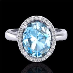 Natural 3 CTW Sky Blue Topaz & Micro Pave Diamond Certified Ring Halo 18K White Gold - 21098-REF#-37