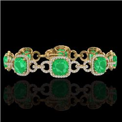 Natural 25 CTW Emerald & Micro Diamond Certified Bracelet 14K Yellow Gold - 23022-REF#-263A9X