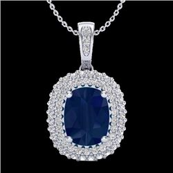 Natural 3.15 CTW Sapphire & Micro Pave Diamond Certified Halo Necklace 18K White Gold - 20419-REF#-6
