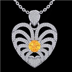Natural 3 CTW Citrine with Micro Pave Diamond Certified Heart Necklace 14K White Gold - 20502-REF#-1