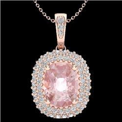 Natural 2.75 CTW Morganite & Micro Pave Diamond Certified Halo Necklace 14K Rose Gold - 20415-REF#-7