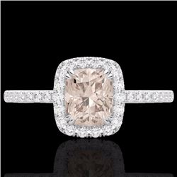 Natural 1.25 CTW Morganite & Micro Pave Diamond Certified Halo Ring 10K White Gold - 22906-REF#-32R8