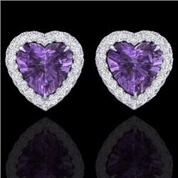Natural 2 CTW Amethyst & Micro Pave Diamond Earrings Heart Halo IN 14K White Gold - 21199-REF#-29T2K
