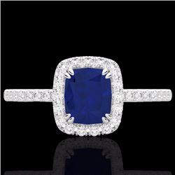 Natural 1.25 CTW Sapphire & Micro Pave Diamond Certified Halo Ring 10K White Gold - 22910-REF#-25V8Y