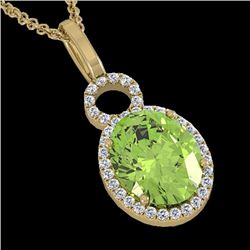 Natural 3 CTW Peridot & Micro Pave Solitaire Halo Diamond Necklace 14K Yellow Gold - 22767-REF#-41Z5