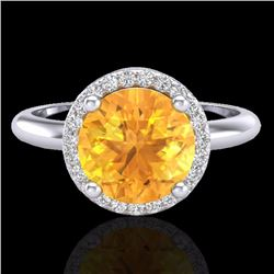 Natural 2 CTW Citrine & Micro Diamond Certified Ring Designer Halo 18K White Gold - 23206-REF#-44A3X