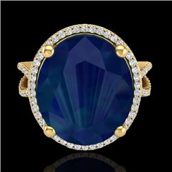 Natural 12 CTW Sapphire & Micro Pave Diamond Certified Halo Ring 18K Yellow Gold - 20968-REF#-95R3H
