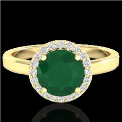 Natural 2 CTW Emerald & Halo Diamond Micro Pave Ring Solitaire Bridal 18K Yellow Gold - 21629-REF#-4