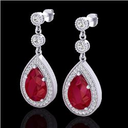 Natural 6 CTW Ruby & Micro Pave Diamond Certified Earrings Designer 18K White Gold - 23120-REF#-63N5